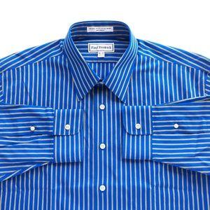 Paul Fredrick 16.5 I 32 Unworn Mens Striped Shirt